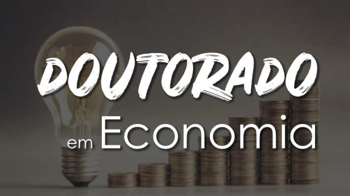 Imagem ilustrativa com uma lâmpada, e moedas ordenadas em pilhas crescentes junto com os dizeres doutorado em economia